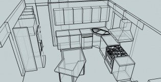 A sketch of the new kitchen